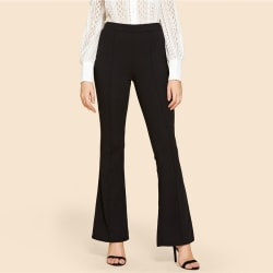 Mature Ladies Sexy Flare Leg Trousers Solid black XL