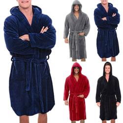 Mellanlång herr och dam enfärgad plus sammet badrockar Svart 3XL