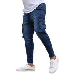 Herr Cargo Skinny Jeans Slim Zip Pocket Denim Jegging Byxa