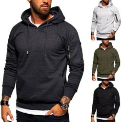 Men Casual Long Sleeve Hoodies Sport Fitness Tops Sweatshirt Dark Grey XL