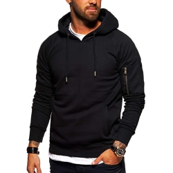 Men Casual Long Sleeve Hoodies Sport Fitness Tops Sweatshirt Black S