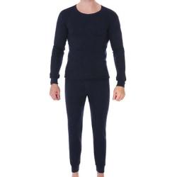 Men Casual Thermal Underwear Set Long Sleeve Tops + Bottom Warm Black 3XL