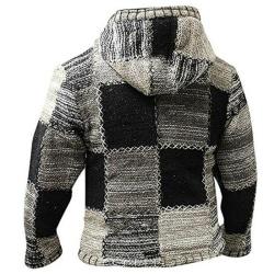 Men Hippie Hoodie Fleece Zip Hooded Cardigan Jacket Top Patchwork L