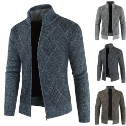 Män Stickad tröja Cardigan Coat Top Långärmad vinterkläder