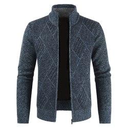 Men Knitted Sweater Cardigan Coat Top Long Sleeve Winter Outwear Navy Blue 3XL