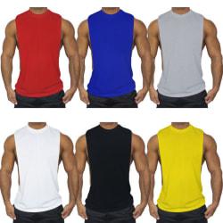 Enfärgad ärmlös lågskjortad sportshirt för män