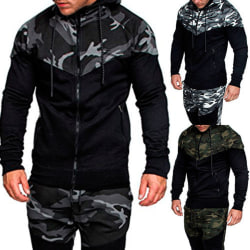 Men's camouflage color block hooded jacket winter jacket coat Dark gray L