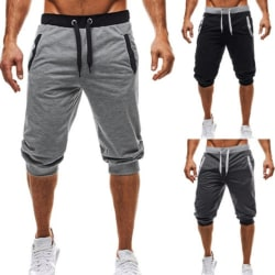 Men's Casual Shorts 3/4 Jogger Capri Pants Knee Shorts light gray M