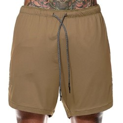 Men's fashion casual sports five-point pants board shorts Khaki 2XL