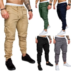 Men's multi-pocket drawstring pants trousers sports trousers black L