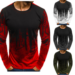 Men's round neck print camouflage fashion long sleeves red M