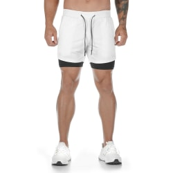 Men's running shorts, casual pocket double-layer fitness pants Black gray M