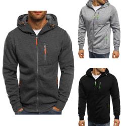 Men's solid color jacquard zipper sweater winter jacket light gray M