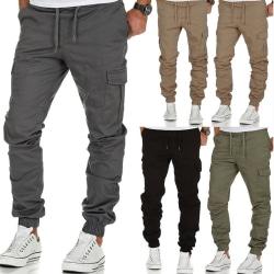 Raka ben för män Cargo Pants Elastic Pants Sports Pants