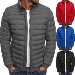 Men's striped stitched zipper coat winter fashion jacket coat Royal blue L