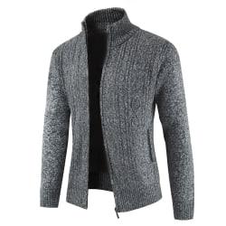 Men Winter Warm Knitted Cardigan Coat Sweater Jacket Outwear Dark Gray 3XL