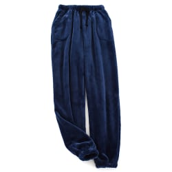 Mens Fleece Pyjama Trousers Casual Long Pants Lounge Sleepwear Navy 3XL