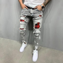 Mens Skinny Ripped Jeans Stretch Denim Pants Slim Fit Trousers Grey M