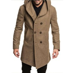 Mens Winter Stylish Warmer Coat Long Sleeve Men Outwear Casual Black XL