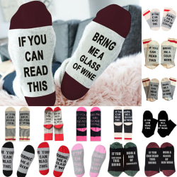 Mens Womens Socks Novelty Letters Printed Stocking Fillers Funny Black & Grey
