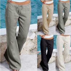 Micro-flared byxor för kvinnor, sport- och fritidsbyxor svart 2XL