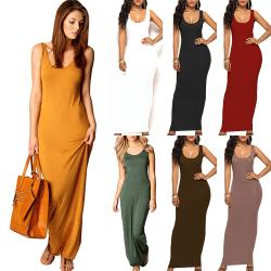 Women's sleeveless long dress, solid color dress, beach dress brown L