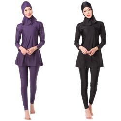 European and American beach split swimsuit suit black M