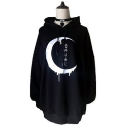 Moon Japanese Pattern Hooded Sweatshirt black M