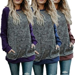 New Fashion Women Patchwork Hoodie Pullover purple M