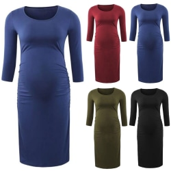 New Pregnant Women Round Collar Long Sleeves winered L