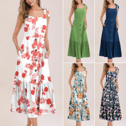 New Style Women Floral Button Decor Ruffle Hem Dress Deep Blue XL