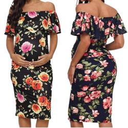 Off Shoukder Ruffles Moderskap Gravid klänning kvinnor