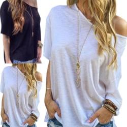 Off Shoulder Plus Size Loose T Shirt white S