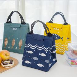 Picnic bag portable fish music sky insulation bag lunch bag Light gray 23.5*20*17