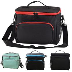 Picnic bag portable one-shoulder insulation bag lunch bag Black with red