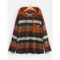 Plus Size Long Sleeve Striped Hooded Ladies Casual Baggy Hoodie Orange XL