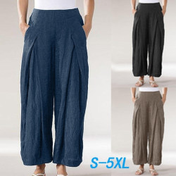 Plus Size Plain Elastic Pants Waist Wide Legs Harem blue S