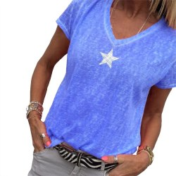Kvinnors stjärntryck S-5XL sommart-shirt i plusstorlek royalblue S