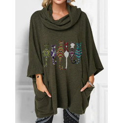 Plus Size Women Casual Baggy Printed Long Sleeve Sweater Jumper Army Green M