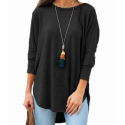 Plus Size Women Long Sleeve Blouse Pullover Tunic Loose Tops Black L