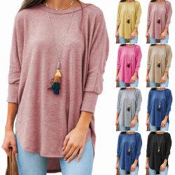 Plus Size kvinnor långärmad blus Pullover tunika lösa toppar