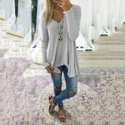 Plus Size kvinnor Vanlig V-ringning Oregelbundna tröjor Långärmad