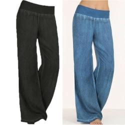 Plus Size Womens Baggy Wide Leg Pants Palazzo High Waisted Black M