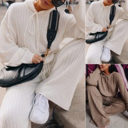 Hooded sweater set (top and pants are purchased separately) Pants Coffee S