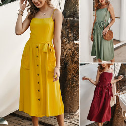 Pure Color Women Straps Dress Tempt Offiece Work Dress Yellow L