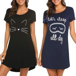 Pyjamas för kvinnor, pyjamas med kort ärm, tryckta pyjamas Svart XL