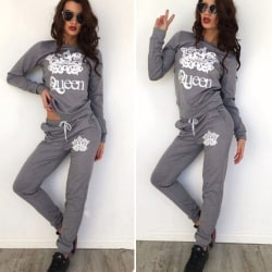 Queen Print Women Fashion Sport Suit 2pcs Deep Grey XL