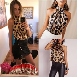 Sexy Halter Leopard Printed Vest Tank Top L