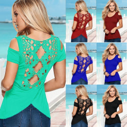 Sexy Ladies Summer Cold Shoulder Back Floral blue S