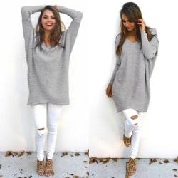 Sexy V-neck Long Sleeve Sweater gray M